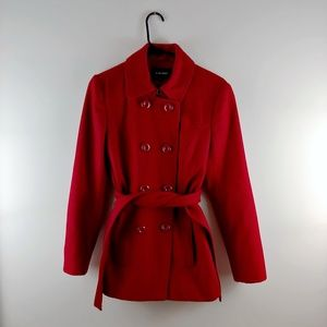 Nine West Wool Belted Fitted Collared Pea Coat